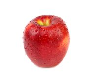 Fresh red apple with water drops. Stock Photos