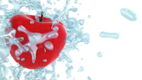 Fresh red apple in water splashes on white background. 3d render Royalty Free Stock Photo