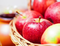Fresh red apples. In basket Stock Image