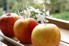 Fresh Red apples. Red apples on the dark wooden table royalty free stock photos