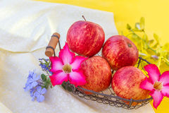 Fresh red apples with flowers Royalty Free Stock Photography