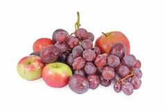 Fresh red apples and grapes Royalty Free Stock Images