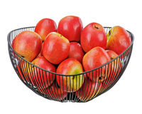 Fresh red apples isolated on white background. Royalty Free Stock Photo