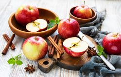 Fresh red apples. On a old white wooden background stock image