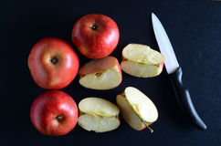 Fresh, red apples over dark background Royalty Free Stock Photo