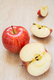 Fresh red apples and slices Royalty Free Stock Images