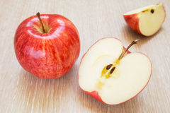 Fresh red apples and slices Royalty Free Stock Photography
