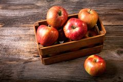 Fresh red apples in wooden box. T-organic-apples-vegetarian Royalty Free Stock Image