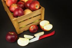 Fresh red autumn apples in farmhouse style wooden crate. Sales of farm products. Advertising for the sale of fruit. Stock Images