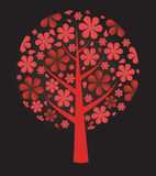 Fresh red background.Flowers tree. Vector Stock Image