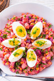 Red beet salad with egg Royalty Free Stock Photo