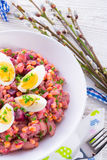 Red beet salad with egg Stock Images