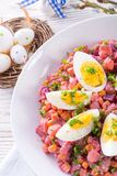 Red beet salad with egg Royalty Free Stock Photos
