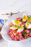 Red beet salad with egg Stock Photography