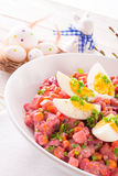 Red beet salad with egg Royalty Free Stock Images