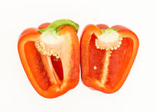 Fresh red bell pepper cut in half Stock Photography