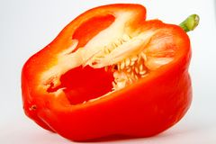 Fresh Red Bell Pepper with Exposed Seeds royalty free stock images
