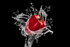 Fresh red bell pepper gets hit by a water stream Royalty Free Stock Photography