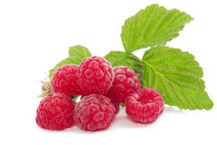 Fresh Red Berry With Leaves On White Background Stock Image