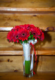 Fresh red bouquet with ribbon and bow Stock Photos