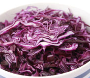 Fresh red cabbage. Some slices of a fresh red cabbage in a bowl royalty free stock photo