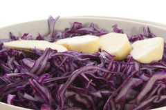 Fresh red cabbage. In a bowl and apple Stock Photography