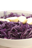 Fresh red cabbage. In bowl and apple cut into pieces Stock Photography