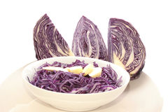 Fresh red cabbage. In a white bowl Stock Photos