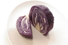 Fresh red cabbage. On a white plate Stock Images