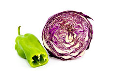 Fresh Red Cabbage with green Capsicum Royalty Free Stock Images