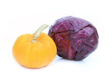 Fresh red cabbage and pumpkin vegetable. On white background Stock Photo