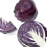 Fresh red cabbage. On a white background Stock Photos