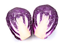 Fresh red cabbage on a white background. Red cabbage on a white background royalty free stock image