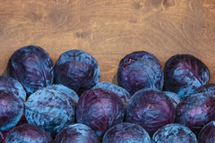 Fresh red cabbage in a wooden box Royalty Free Stock Images