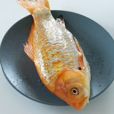 Fresh red  Carassius fish ready for cooking. Healthy eating concept, space for text. Or menu royalty free stock photos