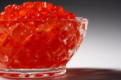Fresh red caviar. In beautiful crystal utensils Stock Image