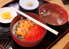 Fresh red caviar with rice. Japanese food Royalty Free Stock Photos