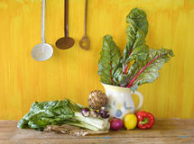 Fresh red chard and various vegetables Royalty Free Stock Photo