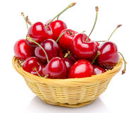 Fresh red cherries in a basket Stock Photo