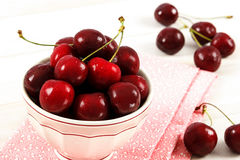 Fresh Red Cherries In A Bowl Stock Photo