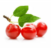 Fresh red cherries with green leaves Royalty Free Stock Photos