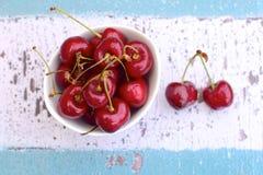 Fresh red cherries. Fresh ripe organic red cherries Royalty Free Stock Photos