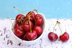 Fresh red cherries. Fresh ripe organic red cherries Royalty Free Stock Photography