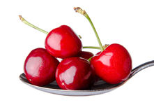 Fresh red cherries on a spoon Royalty Free Stock Photo