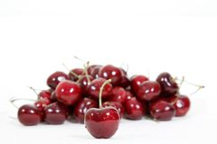 Fresh red cherry isolated on white Royalty Free Stock Photos