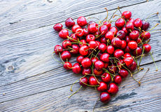 Fresh red cherry in a plate,healthy snack, summer, heart Royalty Free Stock Photos