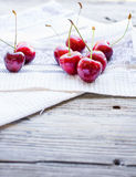 Fresh red cherry in a plate,healthy snack, summer, selective foc Stock Photo
