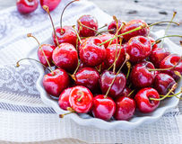 Fresh red cherry in a plate,healthy snack, summer, selective foc Stock Image