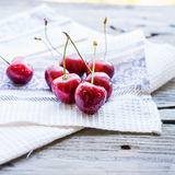 Fresh red cherry in a plate,healthy snack, summer, selective foc Royalty Free Stock Images