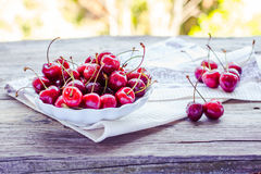 Fresh red cherry in a plate,healthy snack, summer, selective foc Stock Images